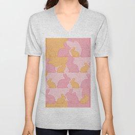 Hunny Bunny - Pastel Pink Yellow Rabbits Design Unisex V-Neck