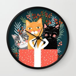 Cats cute christmas xmas tree holiday funny cat art cat lady gift unique pet gifts Wall Clock
