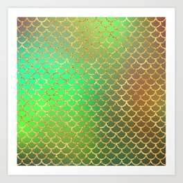 Luxurious Greens and Gold Mermaid Scale Pattern Art Print
