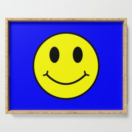 Smiley Happy in yellow color on a blue background - EFS162 Serving Tray