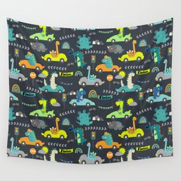 Dinosaur Race Cars Green Pattern Wall Tapestry