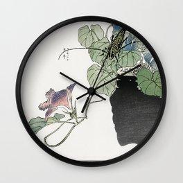 Japanese paper-cutter beetle  from Churui Gafu (1910) by Morimoto Toko Wall Clock