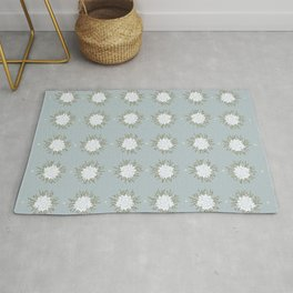 White Succulents with Twigs Pattern Rug