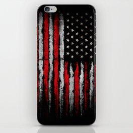 Red & white Grunge American flag iPhone Skin