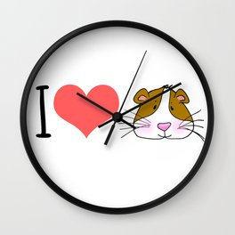 I love / Heart Guinea Pigs Wall Clock