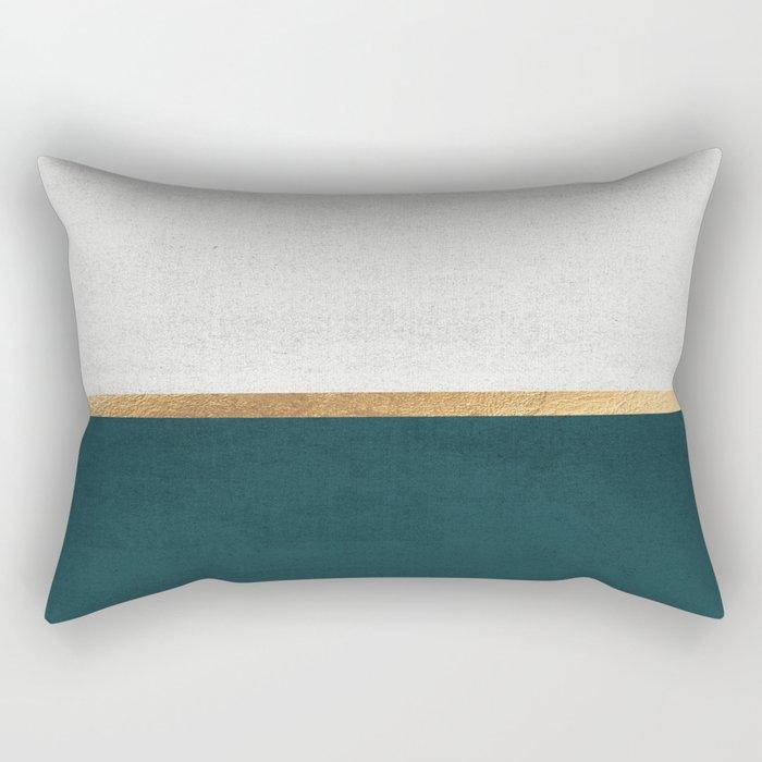 Deep Green, Gold and White Color Block Rectangular Pillow