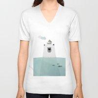 polar bear V-neck T-shirts featuring Polar bear by missmalagata