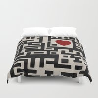 labyrinth Duvet Covers featuring Love Labyrinth by Barruf designs
