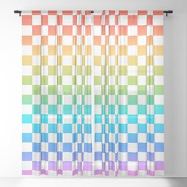 Rainbow Checkerboard Sheer Curtain