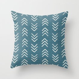 Muted teal and soft white ink brushed arrow heads pattern with textured background Throw Pillow