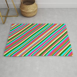 Eye-catching Tan, Green, Cyan, Deep Pink, and Chocolate Colored Pattern of Stripes Rug