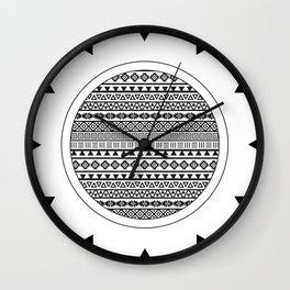 Aztec Influence Pattern II Black on White Wall Clock