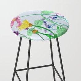Floral Border - Summer Colours Bar Stool