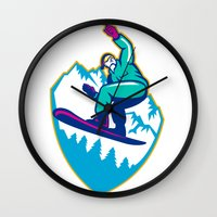 snowboard Wall Clocks featuring Snowboarder Holding Snowboard Alps Retro by patrimonio