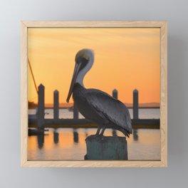 sunset pelican Framed Mini Art Print