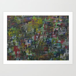Colorful Abstract Square Acrylic Painting Art Print