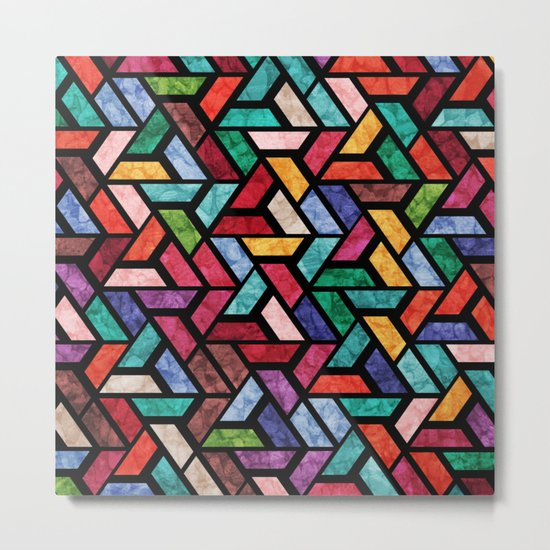 Seamless Colorful Geometric Pattern VII Metal Print