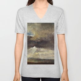 Johan Christian Dahl - Clouds And Sunbeams Over The Windberg Near Dresden Unisex V-Neck