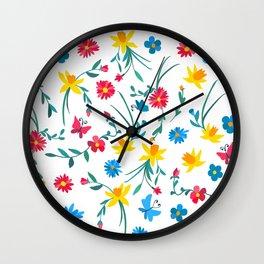 Coloful flowers Wall Clock