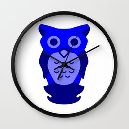 Wise Blue Owl Wall Clock
