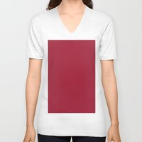 burgundy V-neck T-shirts featuring Vivid burgundy by List of colors