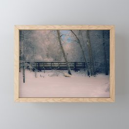 Pastel Colors of Winter at the Footbridge at Creamers Field Framed Mini Art Print