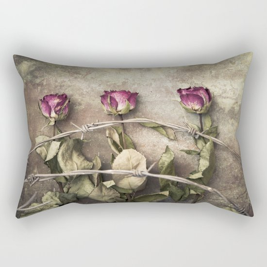 Three dried roses and barbed wire Rectangular Pillow
