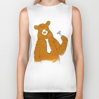 the office Biker Tanks featuring Office Bear by Tobe Fonseca