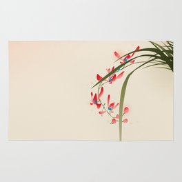 oriental style painting, red orchid flowers Rug