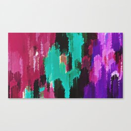 red pink purple green and black painting abstract background Canvas Print