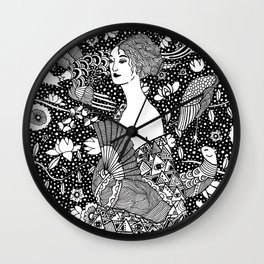 Gustav Klimt - Lady with fan Wall Clock
