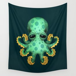 Cute Green Baby Octopus Wall Tapestry