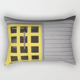 Clean Lines Architecture Design: Yellow Door, Gray Wall Rectangular Pillow