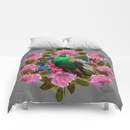 GREY COLOR PINK ROSES &  GREEN PEACOCK ART Comforters