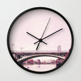 Pink mood at Triana Bridge Wall Clock