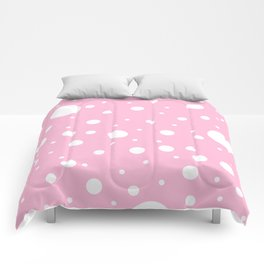 Mixed Polka Dots - White on Cotton Candy Pink Comforters