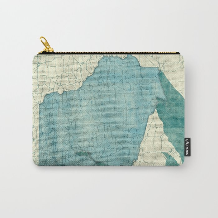 Wisconsin State Map Blue Vintage Carry-All Pouch