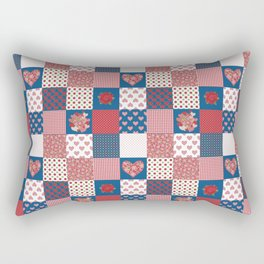 Hearts and Roses Faux Patchwork Rectangular Pillow