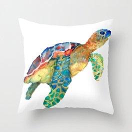 watercolour rainbow sea turtle Throw Pillow