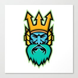 Poseidon Greek God Mascot Canvas Print
