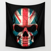 british flag Wall Tapestries featuring British Flag Skull on Black by Jeff Bartels
