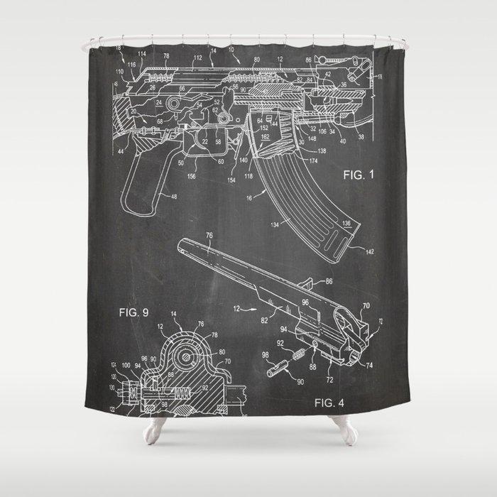 Ak-47 Rifle Patent - Ak-47 Firing Mechanism Art - Black Chalkboard Shower Curtain
