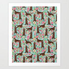 Irish Setter dog breed floral pattern gifts for dog lovers irish setters Art Print