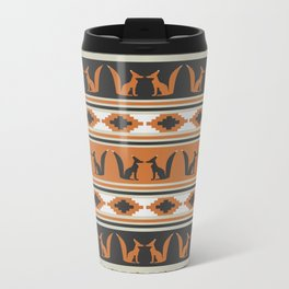 Foxes and ethnic shapes Metal Travel Mug