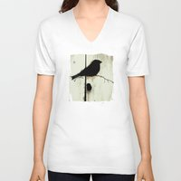 jazzberry V-neck T-shirts featuring Early Bird - JUSTART © by JUSTART