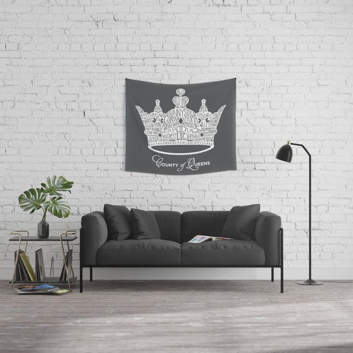 County of Queens | NYC Borough Crown (WHITE) Wall Tapestry