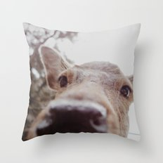 Deer Selfie Throw Pillow