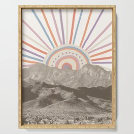 Summerlin Mountain Up // Abstract Vintage Mountains Summer Sun Surf Beach Vibe Drawing Happy Wall Ha Serving Tray