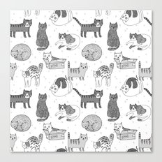 Cat pattern cute nursery cat lady kittens by andrea lauren Canvas Print
