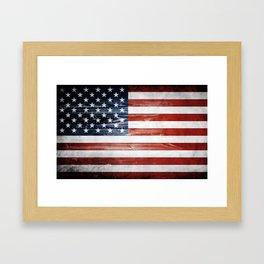 American Wooden Flag Framed Art Print